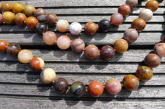 Petrified Rainbow Wood from Arizona 14-15mm round beads (ETB00260)
