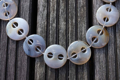 Grey Agate large 26-30mm round button two holes beads (ETB00279)