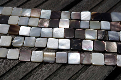 Black Mother of Pearl / MOP 8-11mm square beads (ETB00376)