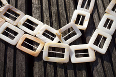 White Mother of Pearl / MOP 23-25mm rectangle hoop beads (ETB00275)