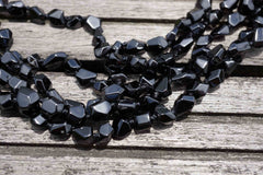 Black Spinel 5-8mm faceted beads (ETB00419)