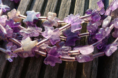 Amethyst 10-14mm butterflies and bows beads (ETB00310)