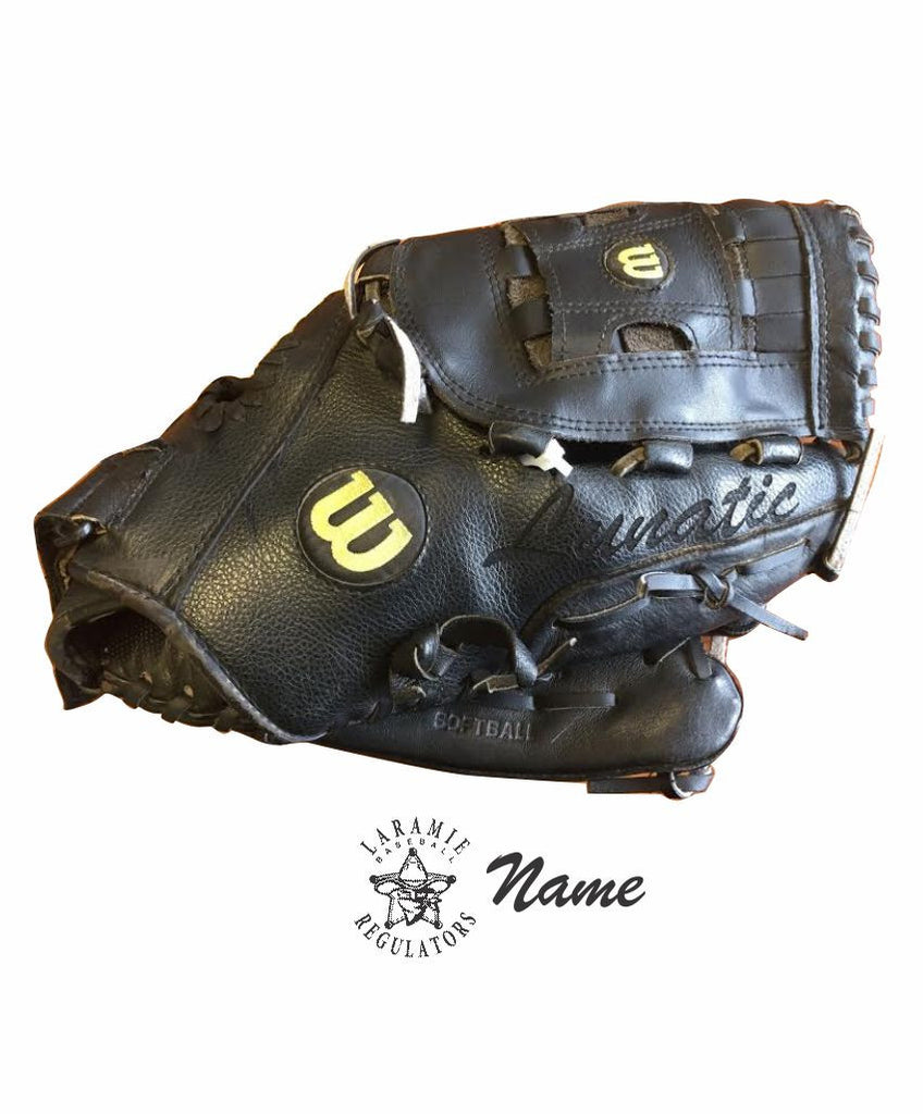 M - Laramie Regulators Laser Etching Name/Logo on Baseball Glove