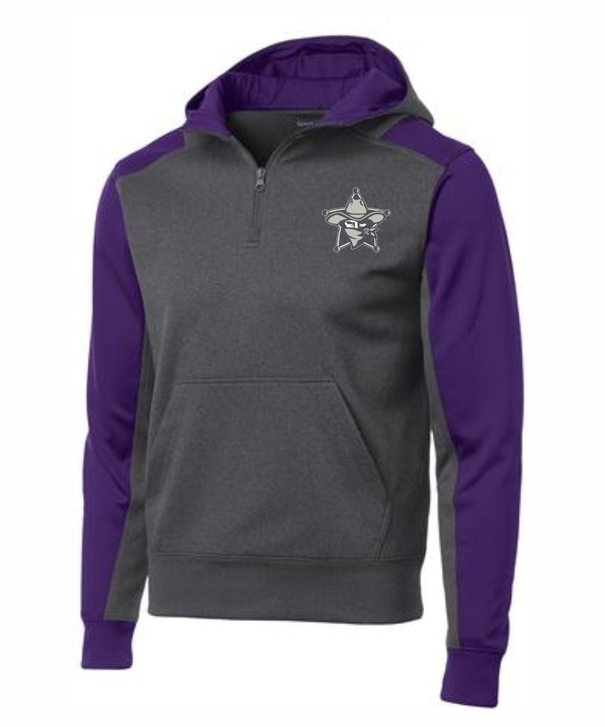 E - Laramie Regulators Sport-Tek® Tech Fleece Colorblock 1/4-Zip Hooded Sweatshirt