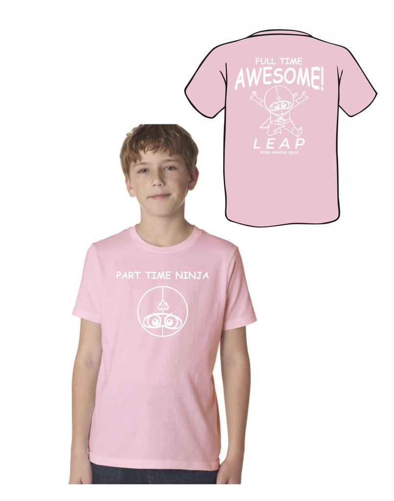 F4 - Leap Part Time Ninja Youth T (Light Pink) - Front and Back Print