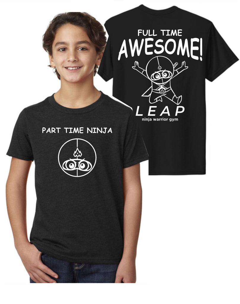 F1 - Leap Part Time Ninja Youth T (Black) - Front and Back Print