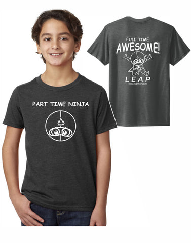 F2 - Leap Part Time Ninja Youth T (Graphite) - Front and Back Print