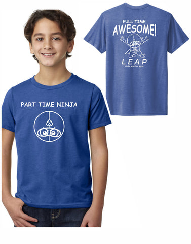 F3 - Leap Part Time Ninja Youth T (Vintage Royal) - Front and Back Print