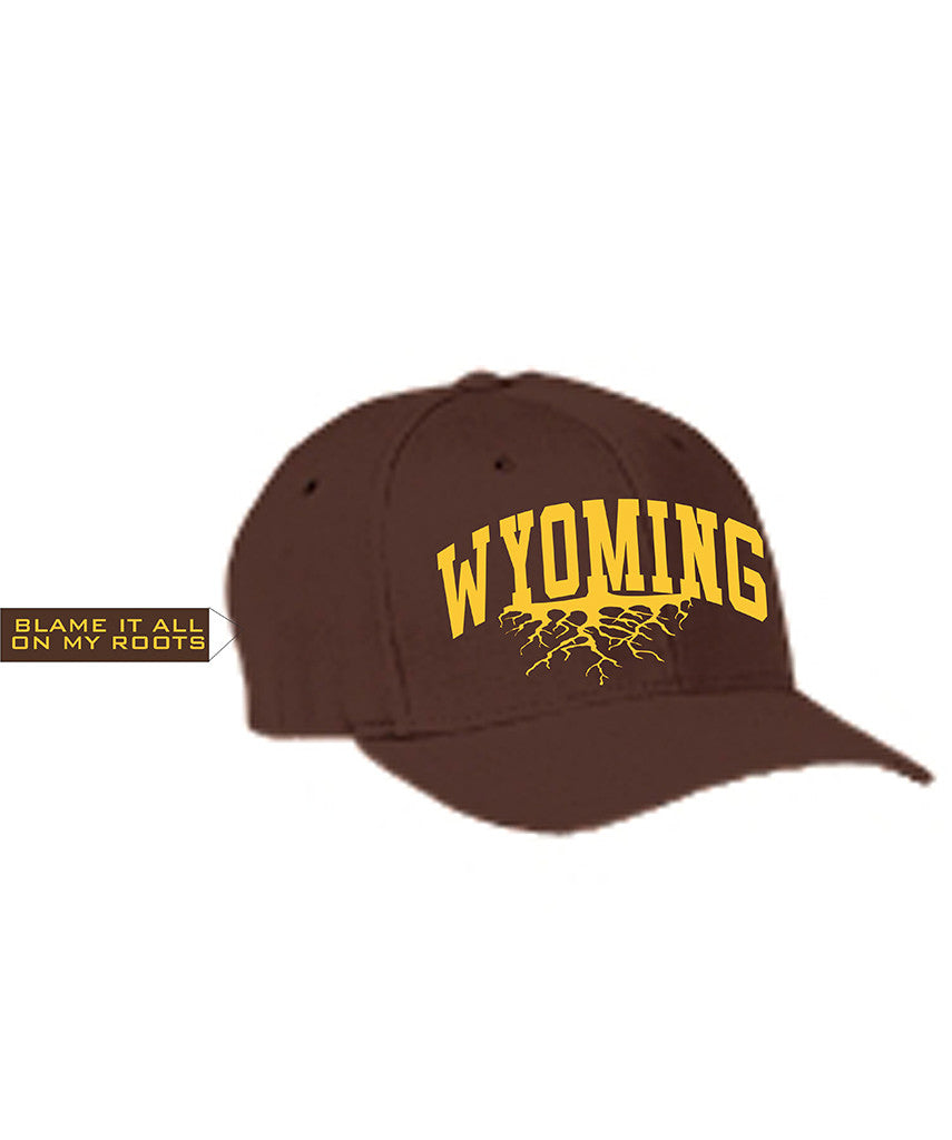H019 Roots - Brown Flexfit Wyoming Hat - Wyoming Pride