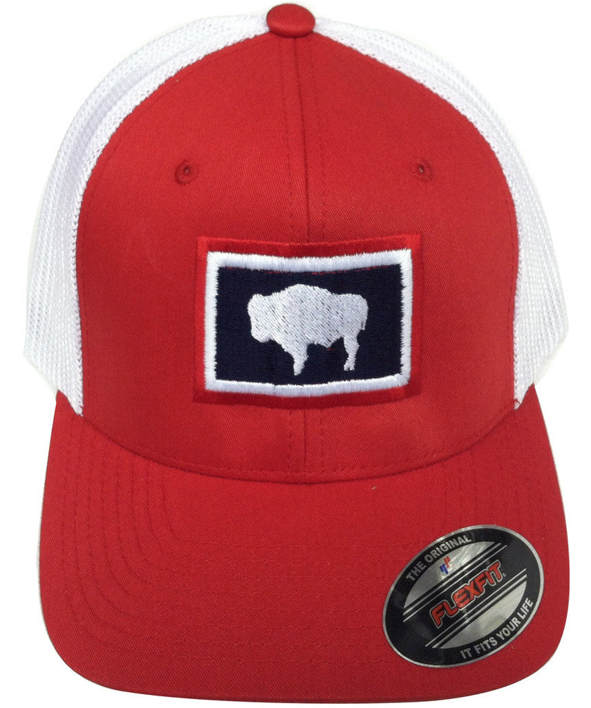 H042 Wyoming State Flag Flex Fit Hat - Red - Wyoming Pride