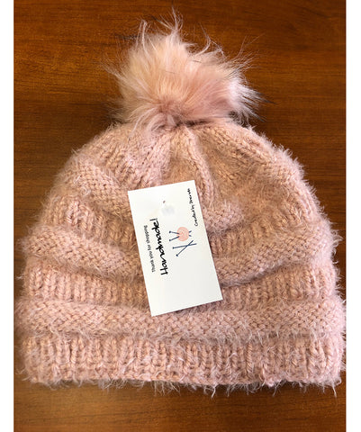 H101 - Dusty Pink Knitted Adult Stocking Cap