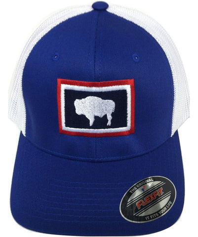 H041 Wyoming State Flag Flex Fit Hat - Blue
