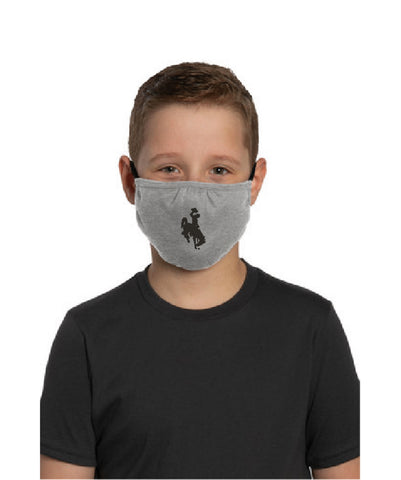 Bucking Horse Youth Shaped Face Mask - Lt Heather Gray