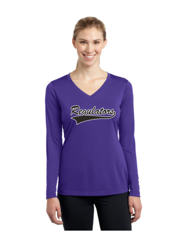B - Regulators - Sport-Tek® Ladies Long Sleeve PosiCharge® Competitor™ V-Neck Tee