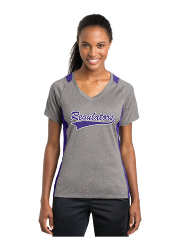 C - Regulators - Sport-Tek® Ladies Heather Colorblock Contender™ V-Neck Tee