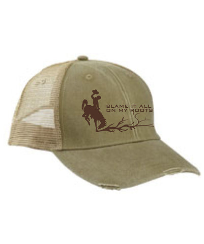 H024 Roots - Khaki Distressed BH Hat