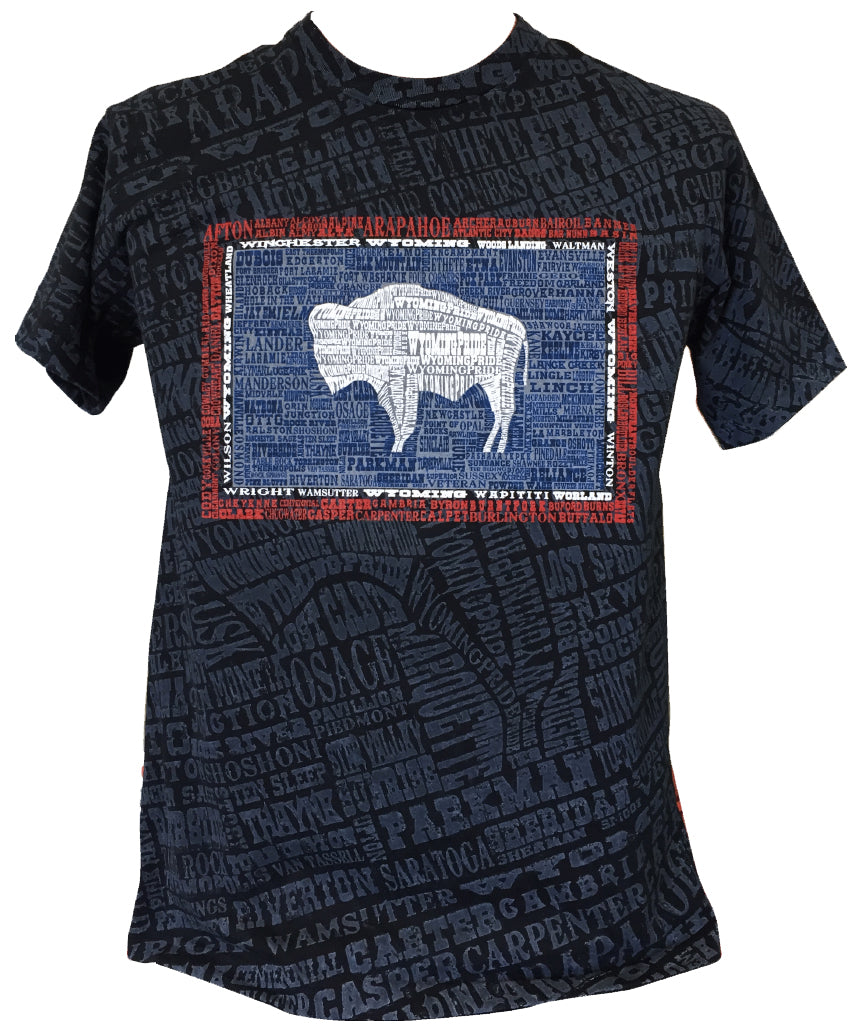 T060 Wyoming Hometown on Towns Stained T-Shirt (Black)