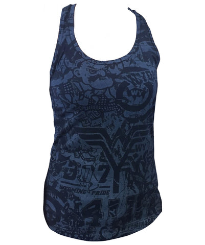 TA013 -  WP Stained Ideal Racerback Tank (Navy)