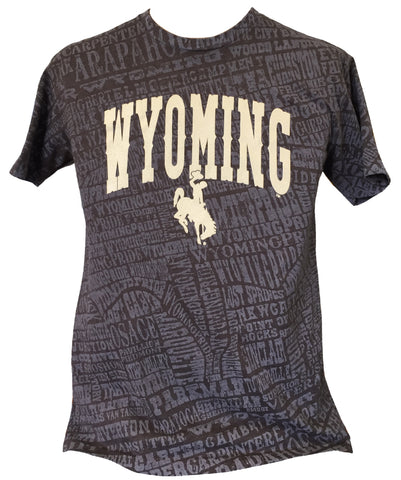 T063 -  Wyoming on Towns Stained T-Shirt (Brown)