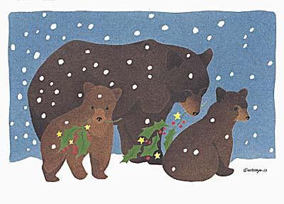 Holly Bears - Christmas Card