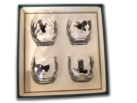 Roly Poly Glasses - Hand blown, Set of four 11 Oz. glasses (Waterfowl, Trout, & Upland Birds)