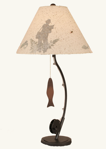 Iron Fly Fishing Pole Table Lamp