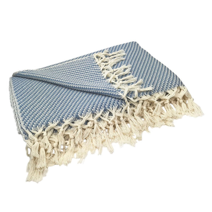 Blue Turkish Weave Cotton Throw Blanket