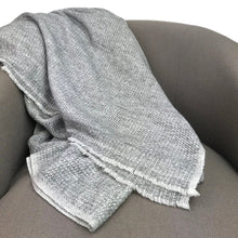 Load image into Gallery viewer, Woven Gray Handloomed Cashmere Throw Blanket
