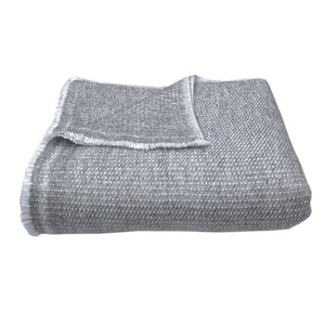 Woven Gray Handloomed Cashmere Throw Blanket