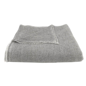 Gray Handloomed Herringbone Cashmere Throw Blanket
