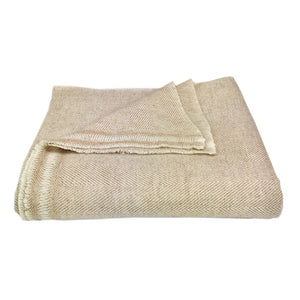Champagne Herringbone Cashmere Throw Blanket