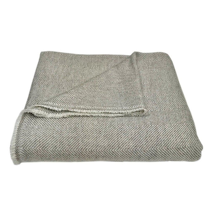 Sand Handloomed Herringbone Cashmere Throw Blanket