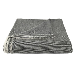 Charcoal Herringbone Cashmere Throw Blanket