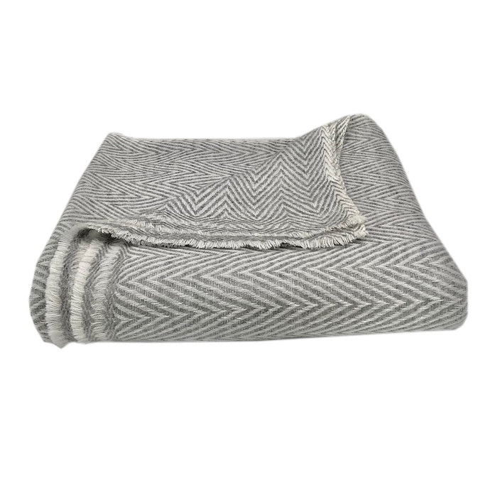 Gray Handloomed Chevron Cashmere Throw Blanket