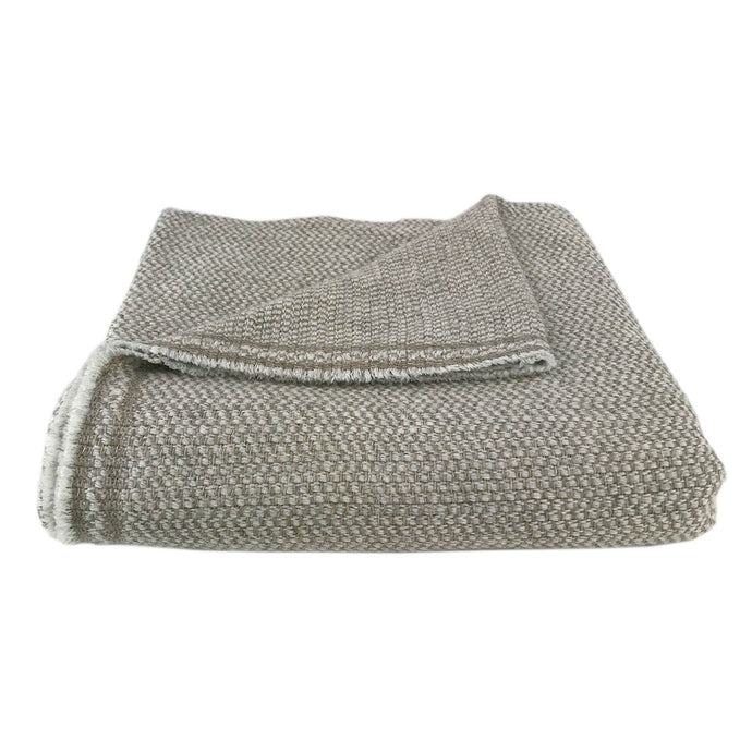 Woven Taupe Handloomed Cashmere Throw Blanket