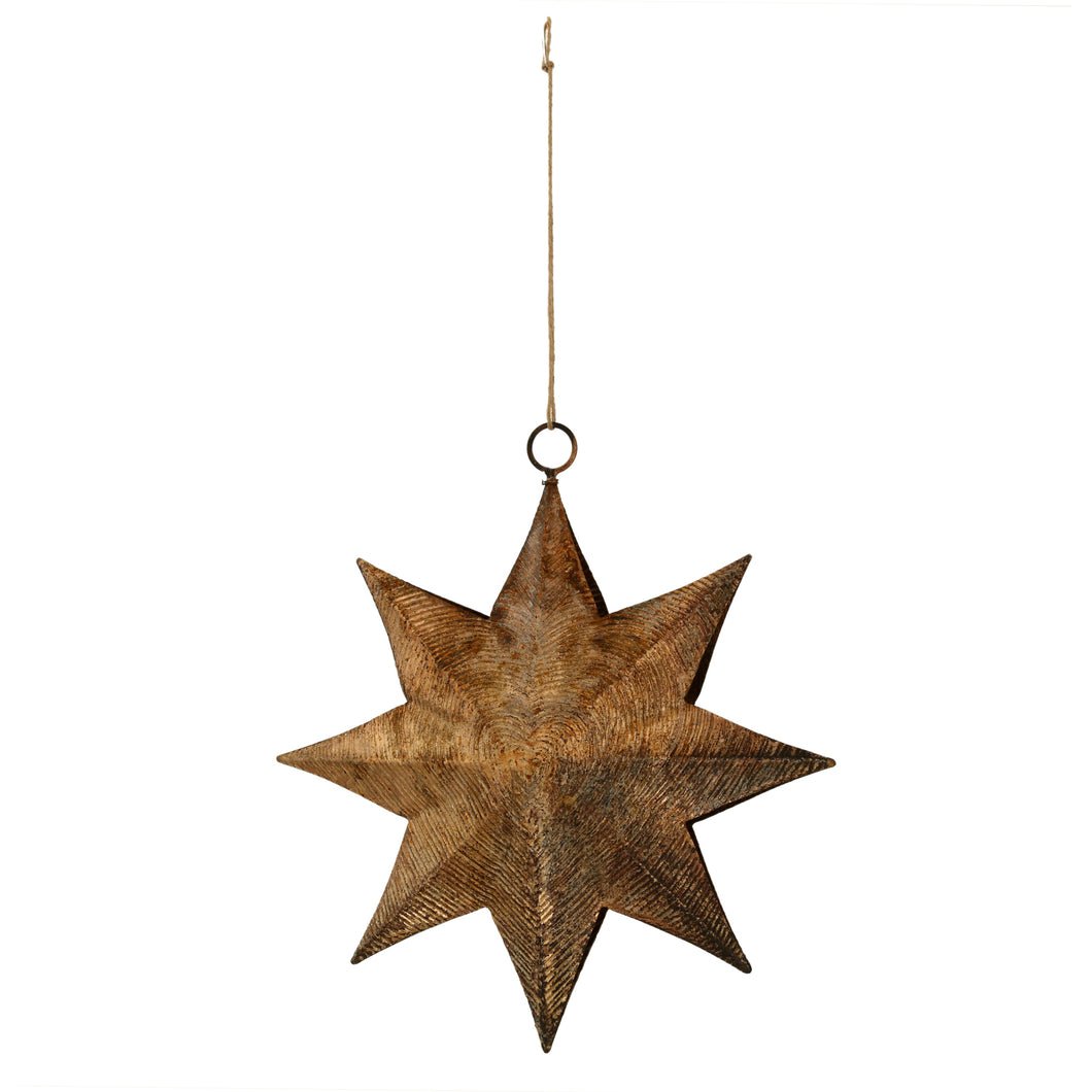 Christmas Musa gold iron hanging star ribbed L