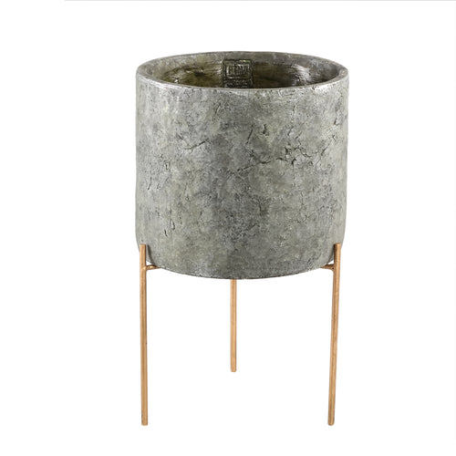 Krizz Green cement pot iron legs round L