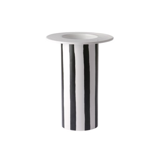 ceramic vase black/white striped ACE6845