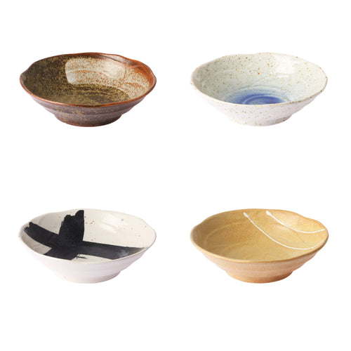 kyoto ceramics: japanese shallow bowl (set of 4) ACE6928