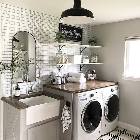 Cute white farmhouse laundry room makeover project on a budget in Chicago, Illinois