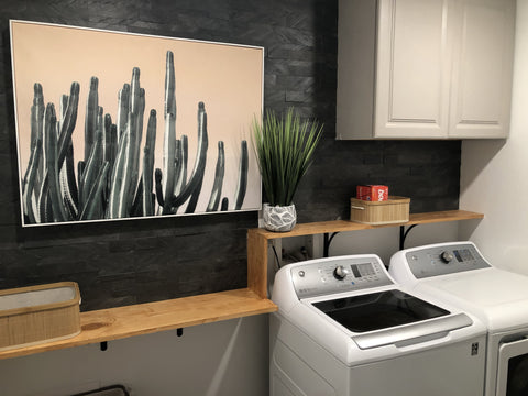 luxury modern laundry room makeover with peel and stick stone tiles on a budget