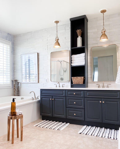 White bathroom makeover project for modern interior with vintage texture