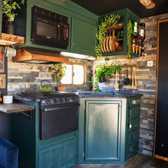 RV kitchen makeover with Tic Tac Tiles peel and stick backsplash - natural stone tiles rustic gray