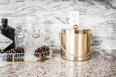 Luxurious home bar with peel and stick stone tiles