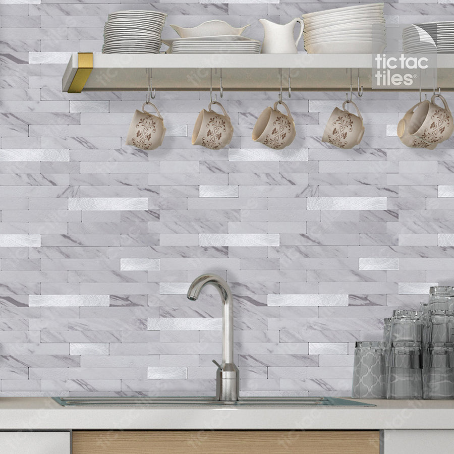 Marble White Metallic Tile