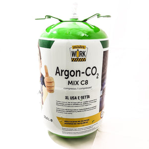Bombola di gas miscela Argon/CO2 usa e getta 14 litri 60 bar C8 saldatura Mister Work XL