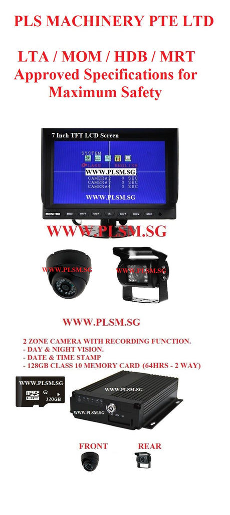 A02.  APPROVED 2 ZONE RECORDING FUNCTION IN-CABIN CAMERAS FOR EXCAVATORS AND LIFTING MACHINES  WITH LCD SCREEN AND SD CARD FOR HYDRAULIC EXCAVATORS. USED IN LTA, LRT, MRT, HDB, PUB, WSHC SITES.