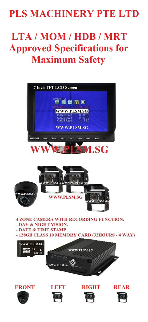 A02.  APPROVED 4 ZONE RECORDING FUNCTION IN-CABIN CAMERAS FOR EXCAVATORS AND LIFTING MACHINES WITH LCD SCREEN AND SD CARD FOR HYDRAULIC EXCAVATORS. USED IN LTA, LRT, MRT, HDB, PUB, WSHC SITES.