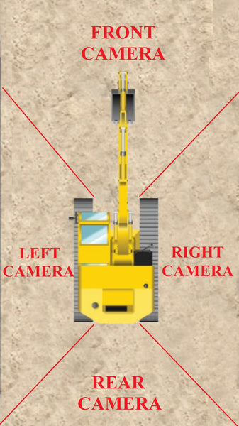 4 ZONE RECORDING FUNCTION IN-CABIN CAMERAS FOR EXCAVATORS AND LIFTING MACHINES WITH LCD SCREEN AND SD CARD FOR HYDRAULIC EXCAVATORS. USED IN LTA, LRT, MRT, HDB, PUB, WSHC SITES.