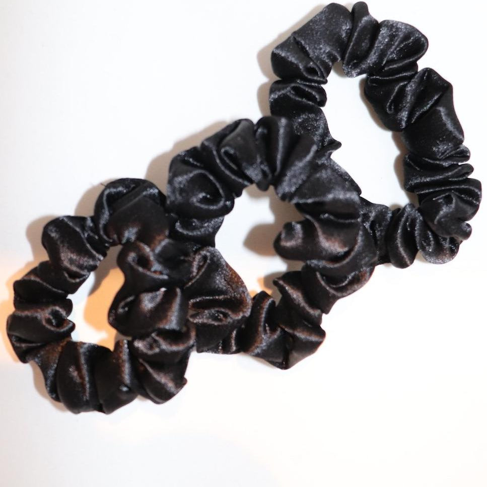 Medium Black Scrunchie Trio